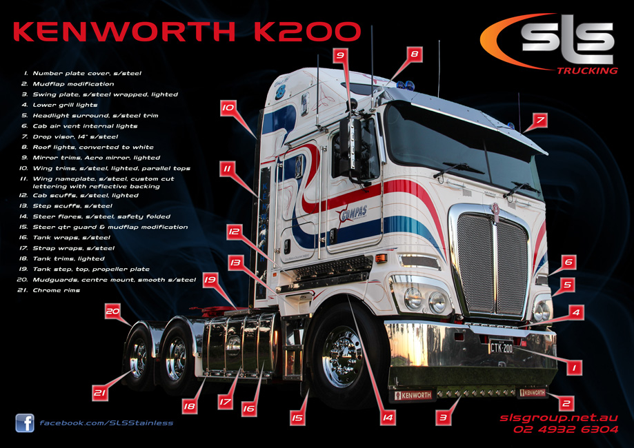Kenworth K200 Stainless Accessories By Sls Trucking